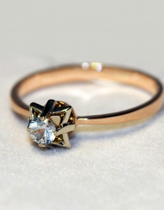 Кольцо с бриллиантом 0,17 карат   Золотые кольца   Mirus Gold 19d45699a71