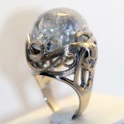кольцо с натуральным аквамарином