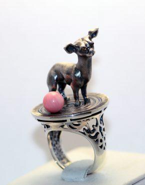 кольцо с собакой