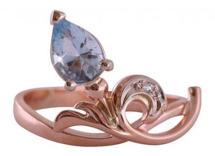 золотое кольцо с аквамарином и бриллиантом