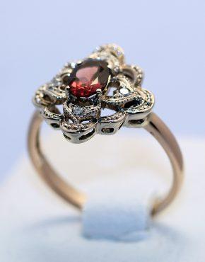 кольцо из розового и белого золота