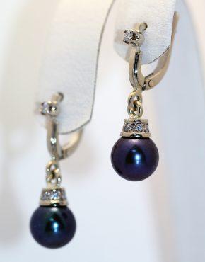 серьги с бриллиантами и черным жемчугом